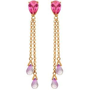 14K Solid Rose Gold Chandelier Earrings with Pink Topaz