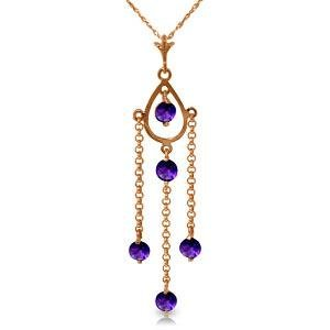 14K Solid Rose Gold Necklace with Natural Purple Amethy