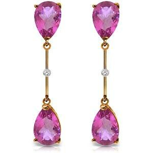14K Solid Rose Gold Diamonds & Pink Topaz Dangling Earr