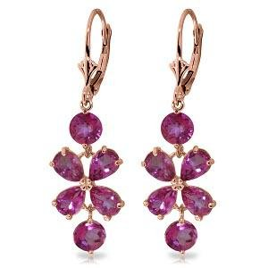 5.32 Carat 14K Solid Rose Gold Pink Topaz Flower Earrin