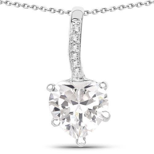 4.46 Carat 925 Sterling Silver Genuine White Cubic Zirconia Pendant
