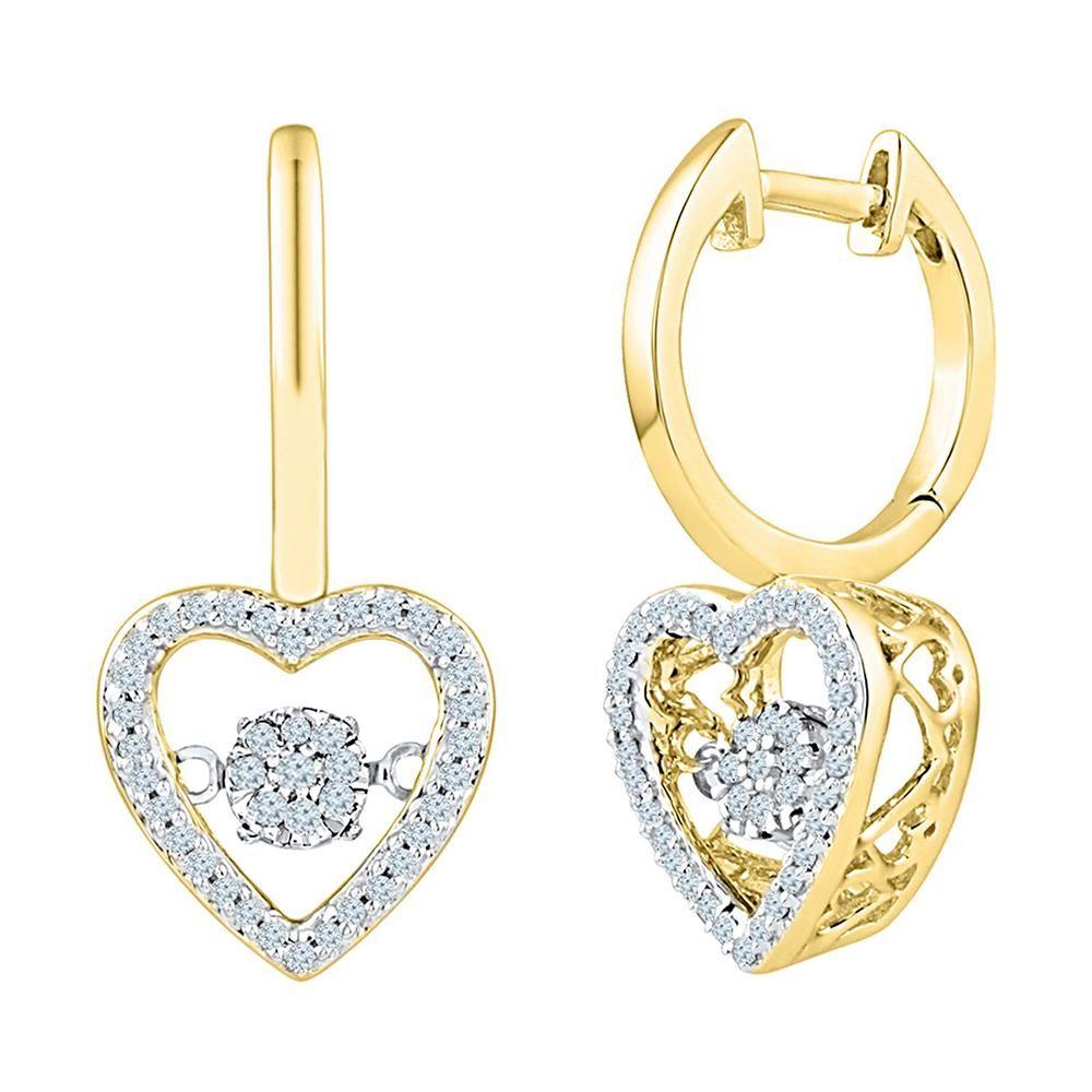10kt Yellow Gold Womens Round Diamond Heart Moving Twin