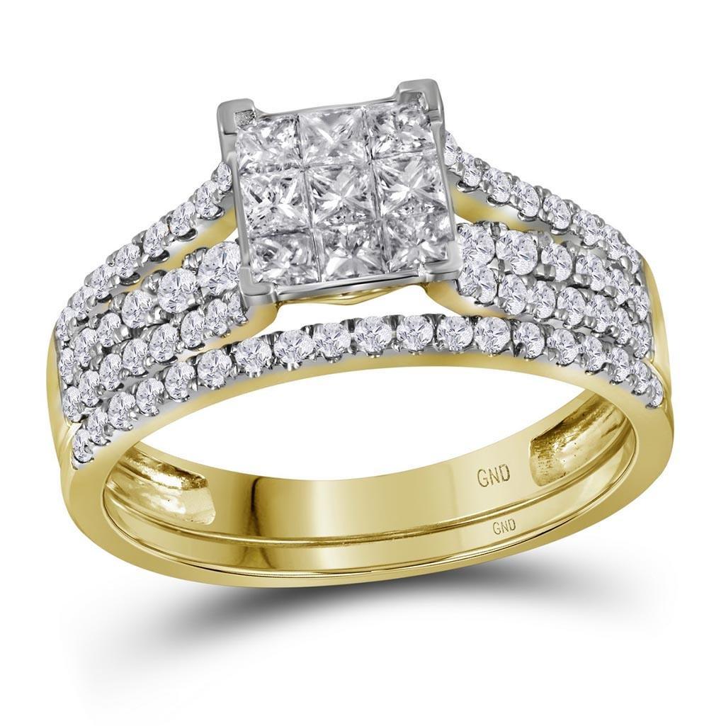 14kt Yellow Gold Womens Princess Diamond Cluster Bridal