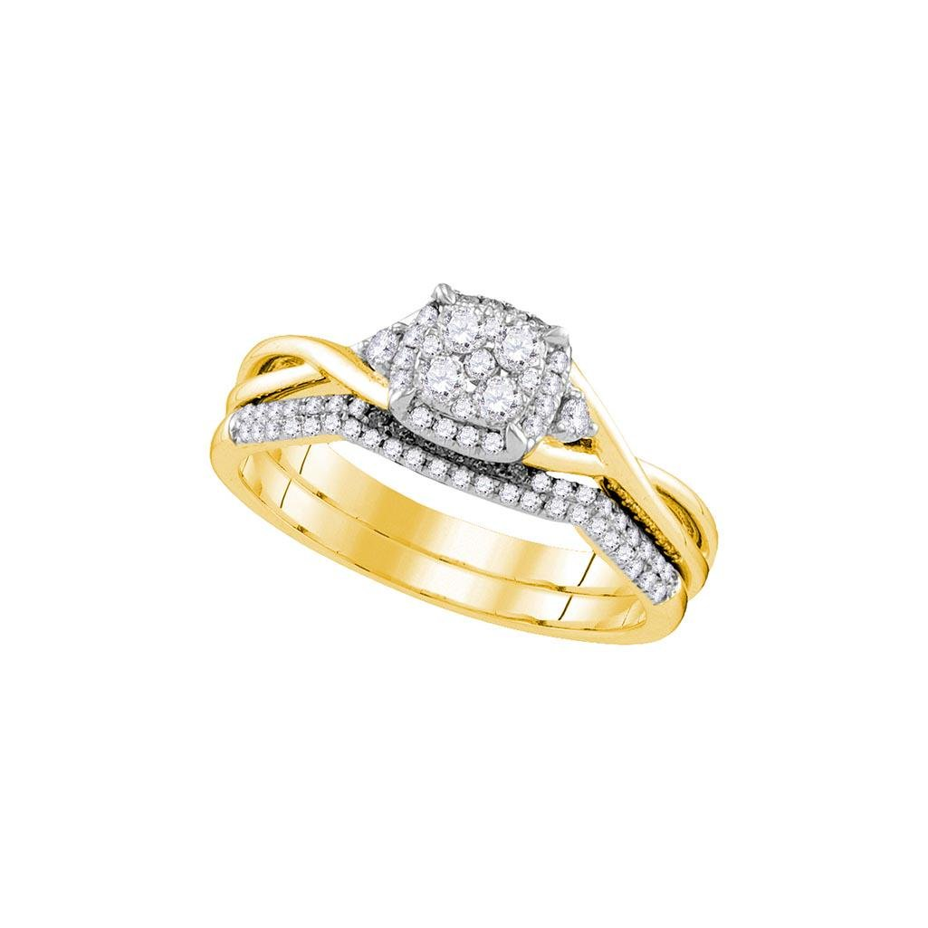 14k Yellow Gold Womens Natural Round Diamond Cluster Br
