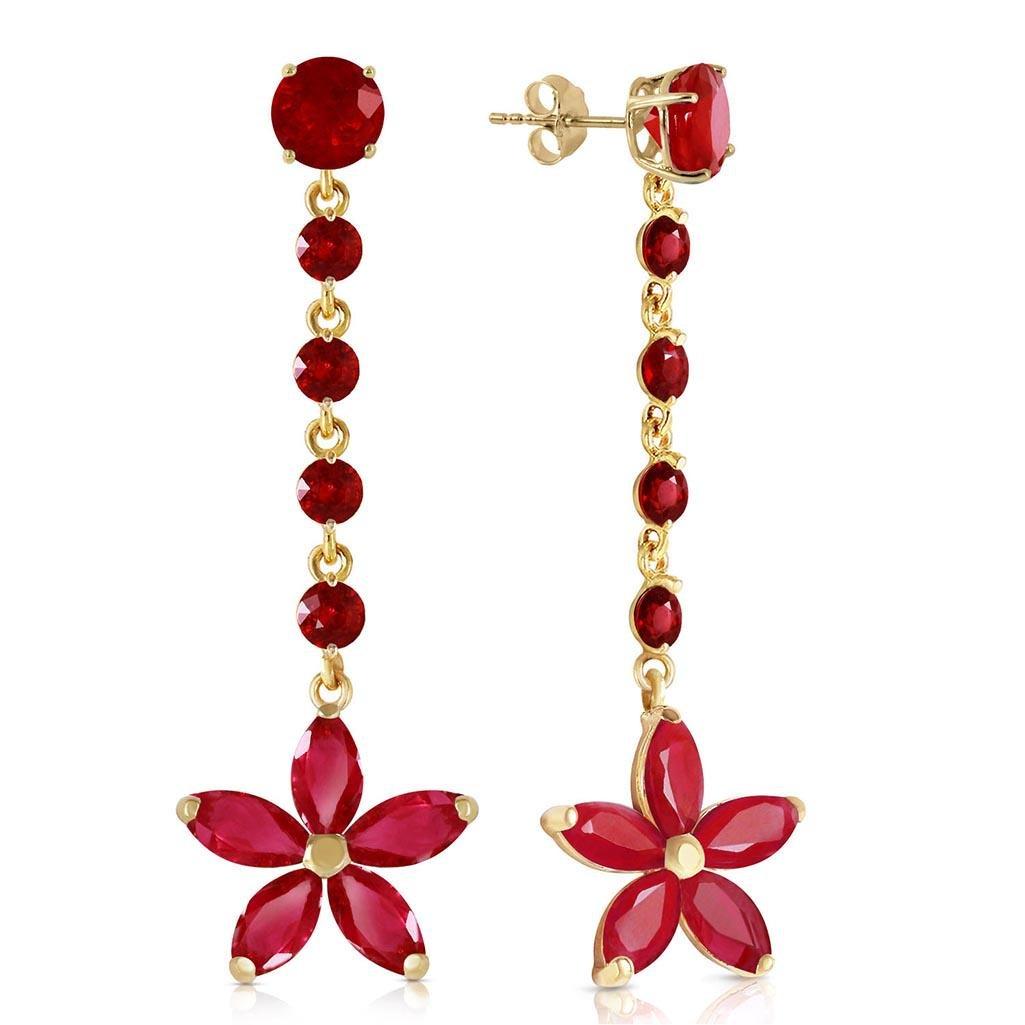 4.8 CTW 14K Solid Gold Chandelier Earrings Ruby