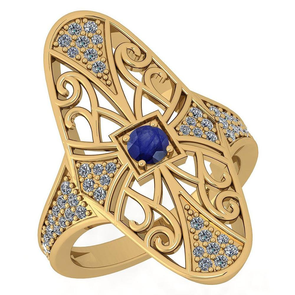 Certified 0.61 Ctw Antique Style Blue Sapphire And Diam