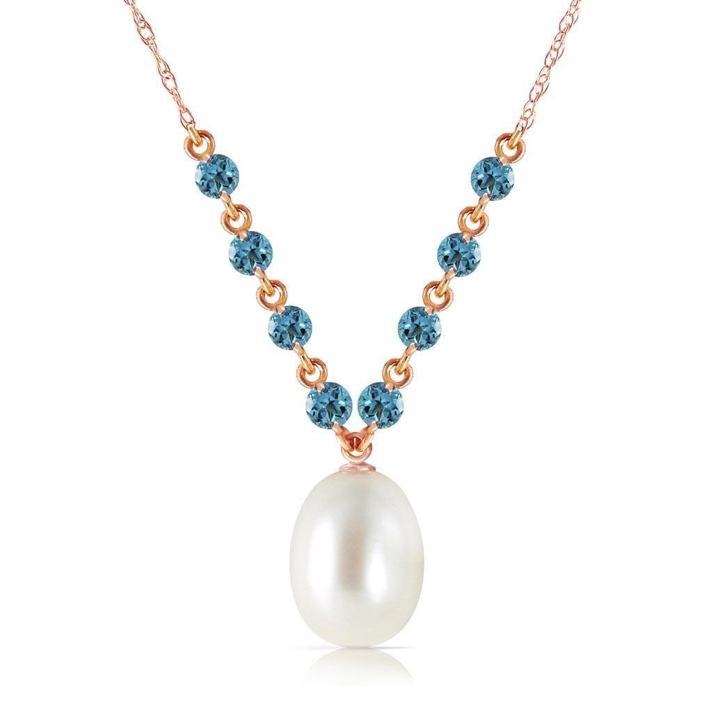 14K Solid Rose Gold Necklace with Natural Blue Topaz &