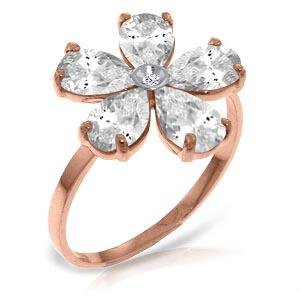14K Solid Rose Gold Ring withNatural Diamond & Rose Top