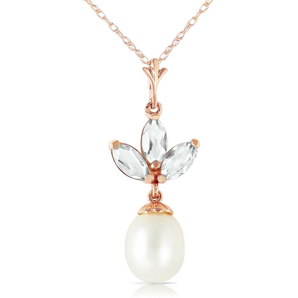 14K Solid Rose Gold Necklace with pearl & Green Amethys