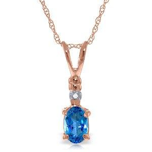 14K Solid Rose Gold Necklace withNatural Diamond & Blue