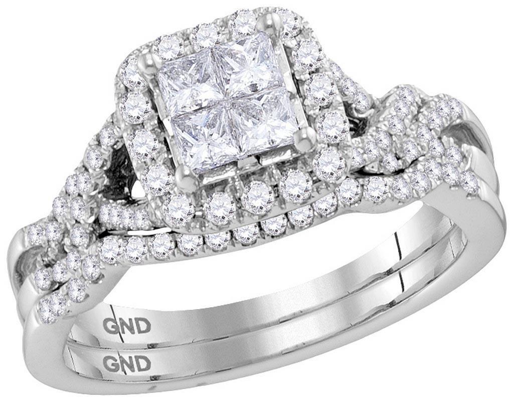 14kt White Gold Womens Princess Diamond Twist Bridal We