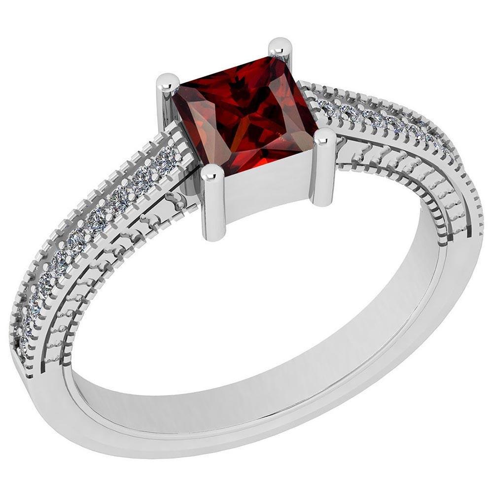 Certified 0.91 Ctw Garnet And Diamond VS/SI1 Halo Ring