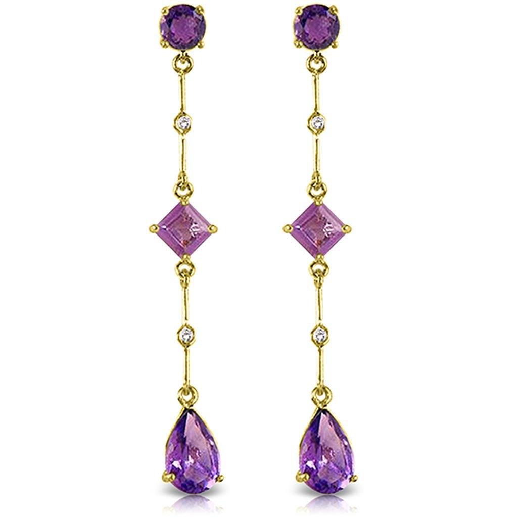 6.06 Carat 14K Solid Gold Chandelier Earrings Diamond A