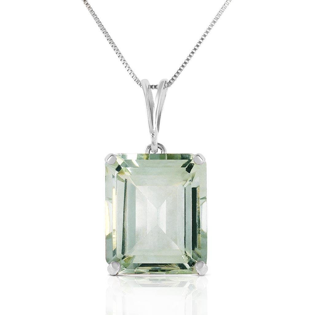 6.5 Carat 14K Solid White Gold Necklace Octagon Green A
