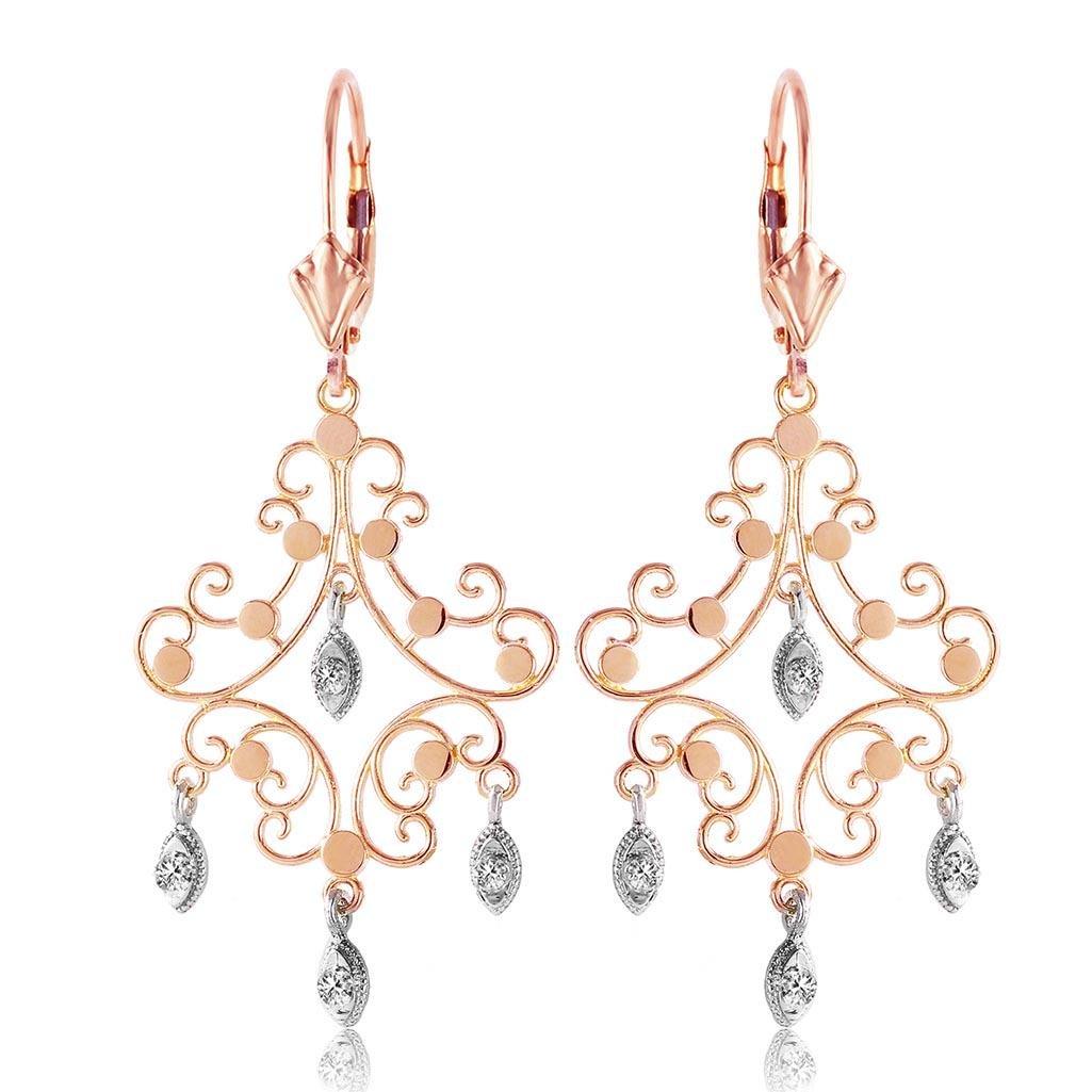 0.04 Carat 14K Solid Rose Gold Chandelier Diamond Earri