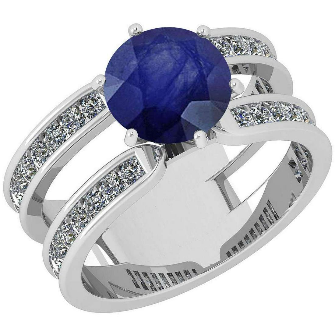 Certified 2.75 Ctw Blue Sapphire And Diamond VS/SI1 Sty