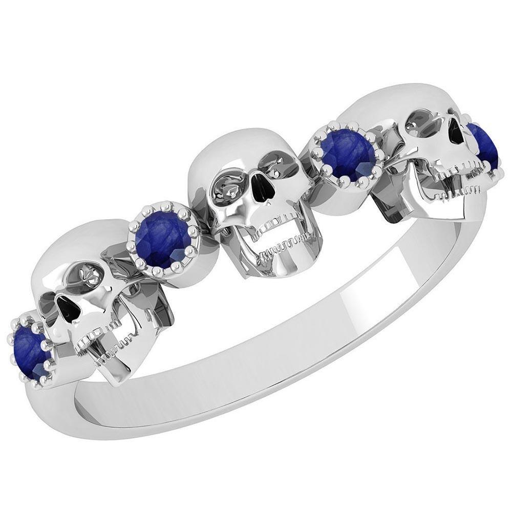 Certified 0.18 Ctw Blue Sapphire Skull Style 10K White