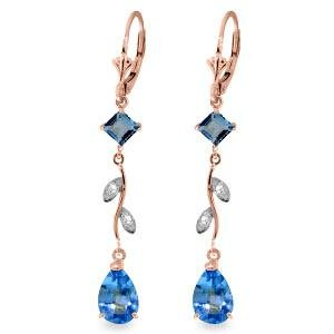 3.97 Carat 14K Solid Rose Gold Chandelier Earrings Natu