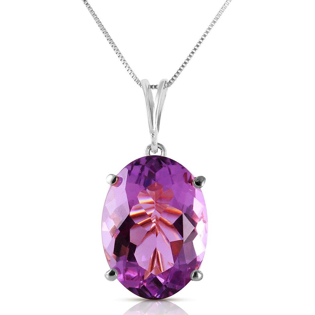 7.55 Carat 14K Solid White Gold Necklace Oval Purple Am