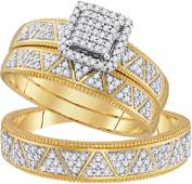 10kt Yellow Gold His  Hers Round Diamond Square Cluste