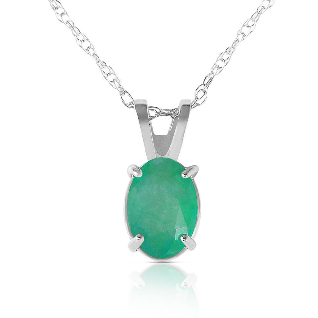 0.75 Carat 14K Solid White Gold Necklace Natural Emeral