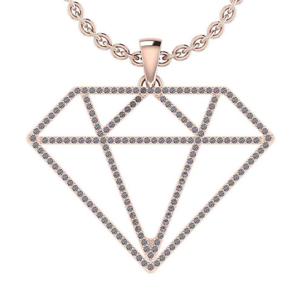 Certified 0.17 Ctw Diamond VS/SI1 18K Rose Gold Necklac