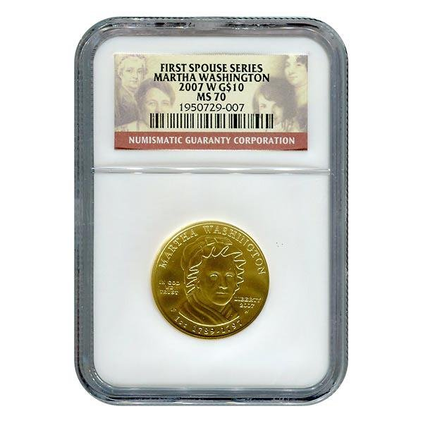 Certified Gold First Spouse 2007-W Martha Washington MS