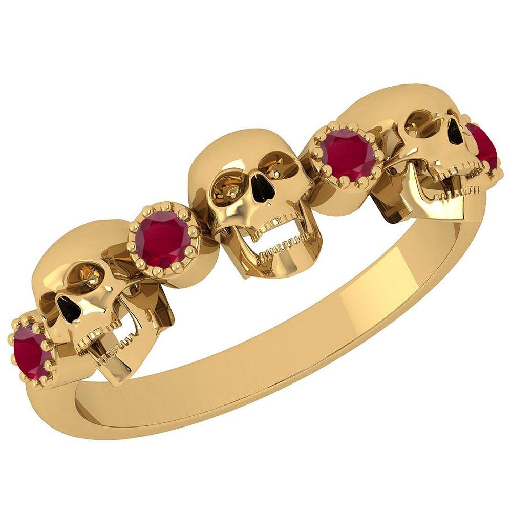 Certified 0.18 Ctw Ruby Skull Style 18K Yellow Gold Rin