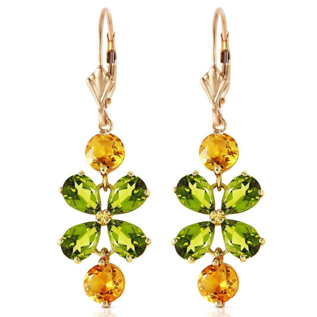 5.32 CTW 14K Solid Gold Chandelier Earrings Peridot Cit