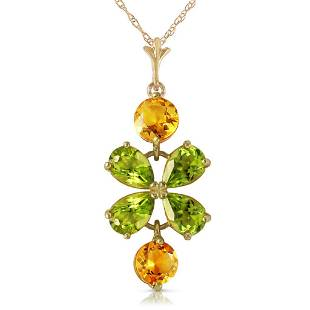 315 CTW 14K Solid Gold Necklace Peridot Citrine