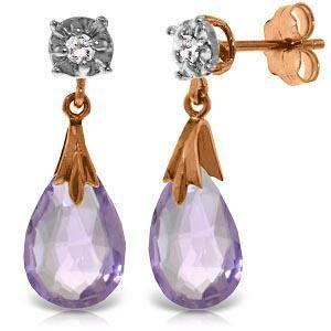 14K Solid Rose Gold Stud Earrings withDiamonds Amethy