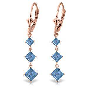 479 CTW 14K Solid Rose Gold Square Blue Topaz Drop Ear