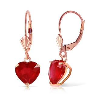 14K Solid Rose Gold Leverback Earrings with Natural rub
