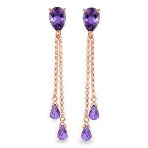 75 Carat 14K Solid Rose Gold Drop Earrings Square Cut