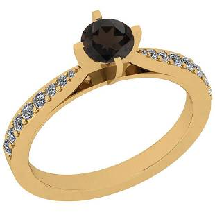 Certified 067 Ctw Smoky Quartz And Diamond SI1SI2 Wed