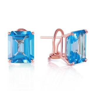 14 Carat 14K Solid Rose Gold Octagon Blue Topaz Earring