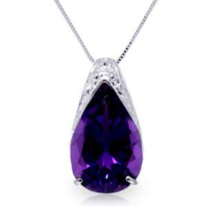 5 CTW 14K Solid White Gold Evening Wind Amethyst Neckla