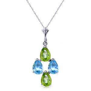 15 CTW 14K Solid White Gold Necklace Natural Blue Topa