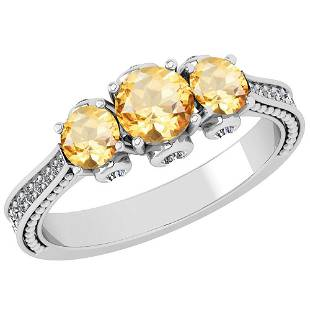Certified 122 Ctw Citrine And Diamond SI1SI2 18K Whit