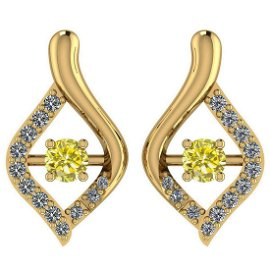 Certified 0.36 Ctw Treated Fancy Yellow Diamond I1/I2 A