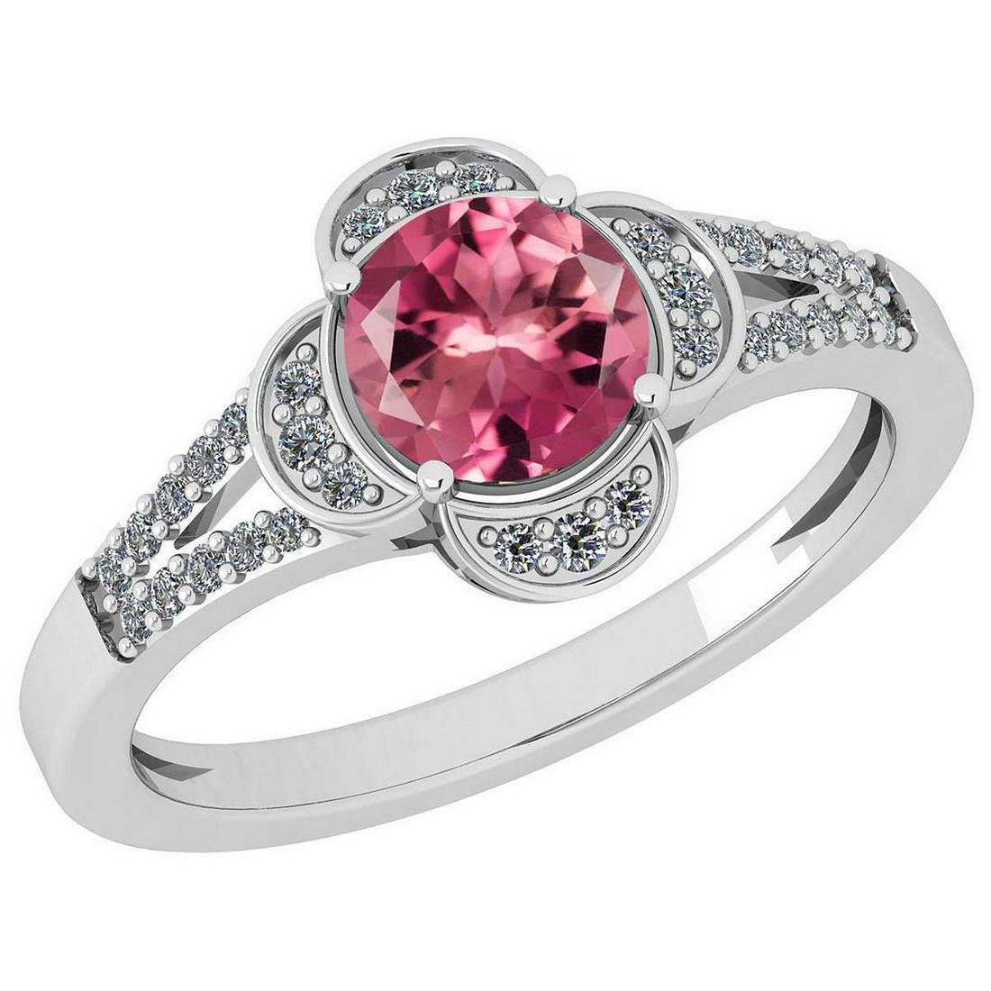 Certified 1.15 Ctw Pink Tourmaline And Diamond VS/SI1 1