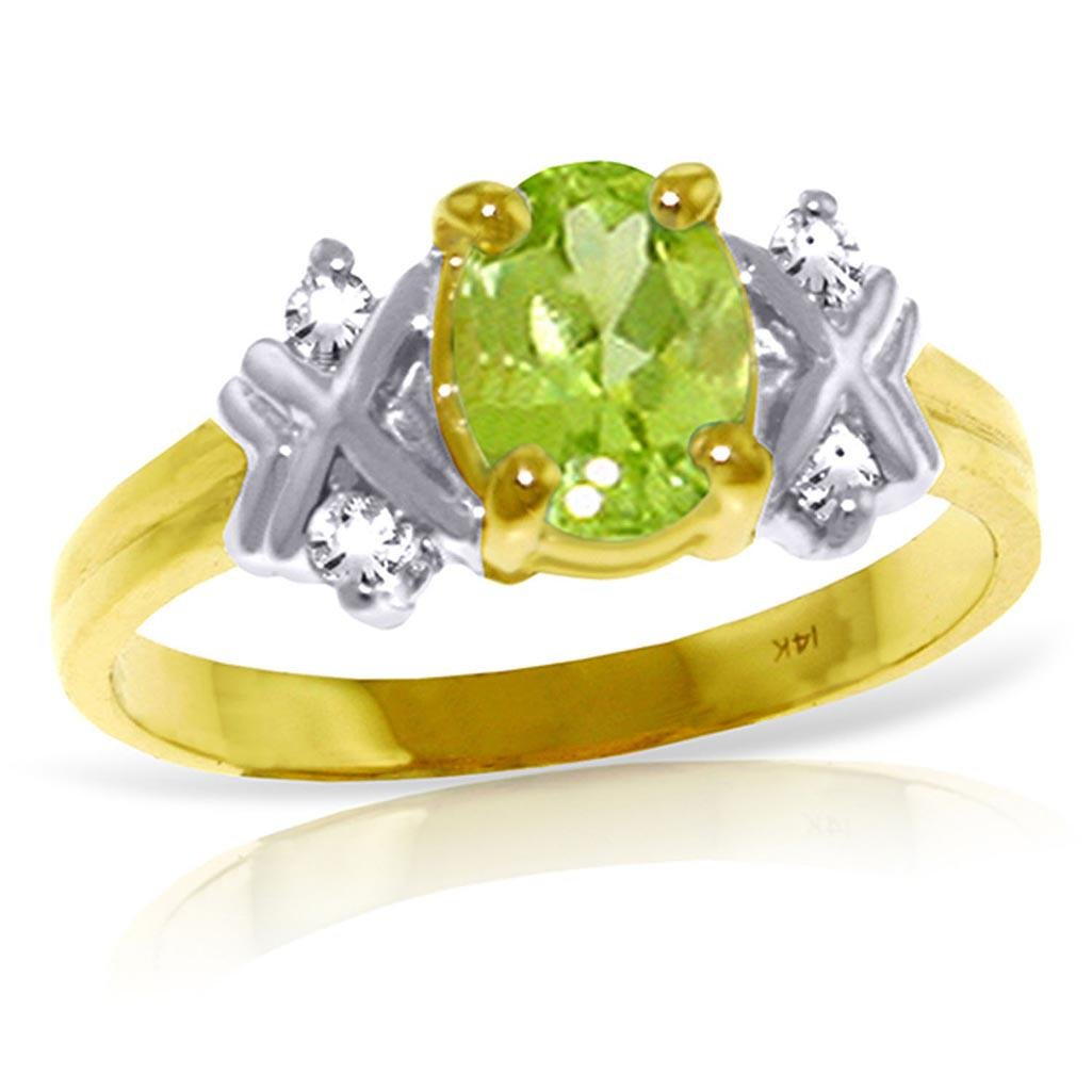 0.97 CTW 14K Solid Gold Stirring Feelings Peridot Diamo