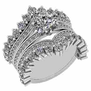 Certified 395 Ctw Diamond SI1SI2 Antique Ring 14K Whi