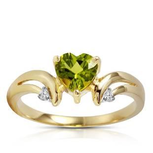 126 Carat 14K Solid Gold Ring Diamond Peridot