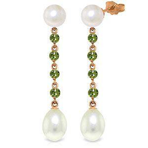 14K Solid Rose Gold Chandelier Earrings with Peridots