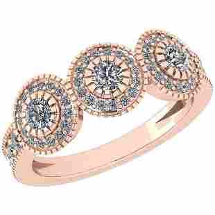 Certified 070 Ctw Diamond VSSI1 Three Stone14K Rose G
