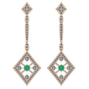 Certified 101 Ctw Emerald And Diamond VSSI1 14K Rose