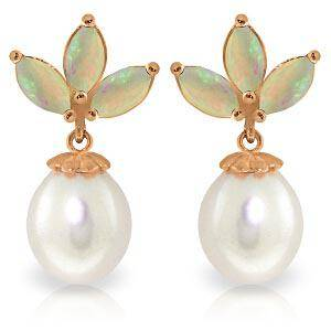 14K Solid Rose Gold Dangling Earrings with pearls Opa