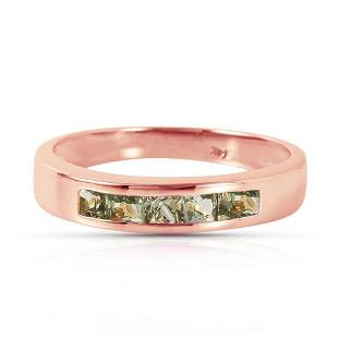 14K Solid Rose Gold Rings with Natural Green Sapphires