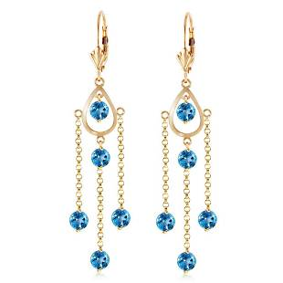 3 Carat 14K Solid Gold Gilded Age Blue Topaz Earrings